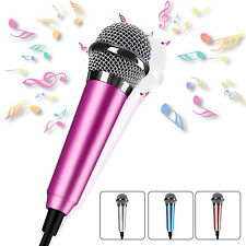 Portable 3.5mm Wired Mini Cell Phone Microphone Stereo Mic For Chatting/ Singing