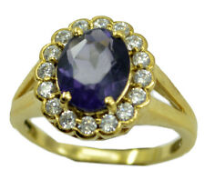 Amethyst CZ Gold Plated Ring toothsome Purple india AU K,M,O,Q