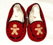 NEW Janie & And Jack Cherish The Season Red Gingerbread knit Slippers 4 7 10