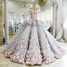3D Appliques Crystals Beads Wedding Dresses Princess Bridal Ball Gown Sheer Back
