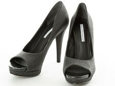 Vera Wang Lavender Black Sparkly Open Toe Pumps Heels Size 7.5