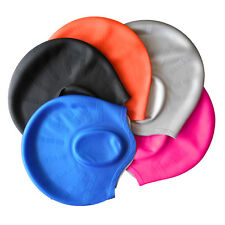 Hot Adults Silicone Stretch Swimming Long Hair Cap Hat With Ear Cup Waterproof