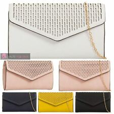 NEW WOMENS LADIES LASER CUT PATTERN CHAIN STRAP FAUX LEATHER SHOULDER HAND BAG