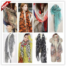 Hot Winter Womens Ladies flowers voile Soft Long Shawl Scarf Wrap Stole 34