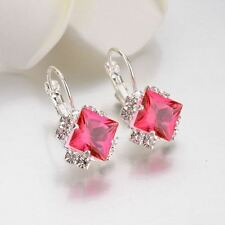 Women Silver Color Plated Rhinestone Lace Square Shape Crystal Stud Earring
