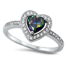 Stunning 925 Sterling Silver Rainbow Topaz CZ Heart Ring Clear CZ Size 5-10