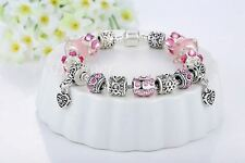 New Style Silver Blue Glass Beads Crystal Charm Bracelet for Women