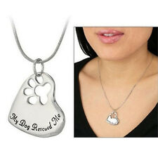 New Style Pet Memorial Pendant My Dog Rescued Me Paw Print Tag Heart Necklace SG