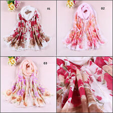 2014 New Women's Chiffon Flowers Soft Long Neck Scarf Shawl Scarves Stole Wraps