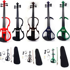 New 4/4 Electric Silent Violin + Case + Bow + Rosin+Headphone+ Battery 3 Style
