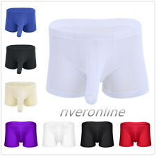 Sexy Mens Lingerie Ice Silk Boxer Briefs Shorts Underwear Bulge pouch Underpants