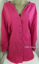 JM Collection Womens Plus Size Shirt Top Pink Button Down Blouse Size 16W 24W