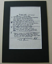 John Lennon THE BEATLES In My Life MOUNTED HAND WRITTEN LYRICS
