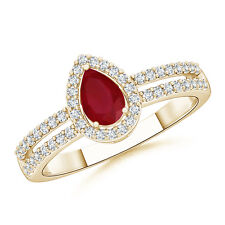 Solitaire Pear Natural Ruby Diamond Halo Engagement Ring 14k Yellow Gold