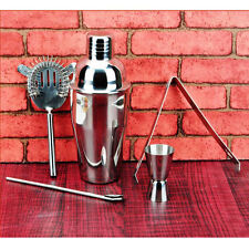 Stainless Steel Cocktail Shaker Set 5 Pc Bartender Bar Tool Strainer Measure Cup