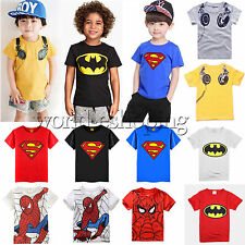 Children Kids Boy Superhero T-shirt Short Sleeve Tee Top Summer Crewneck t shirt