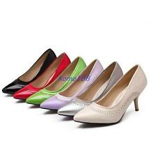 New Womens Pointy Toe Mid Heel Stiletto Pumps Slip On PU Leather Shoes Plus Size