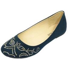 LADIES FLAT NAVY SLIP-ON COMFY WORK SHOES DOLLY BALLET SCHOOL PUMPS SIZES 3-8