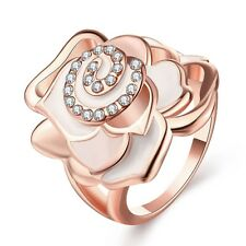 Fashion Womens Wedding Party 18K Gold Plated GP Rhinestone Rose Flower Band Ring