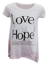 Girls Ex H&M T-Shirt Top Soft Cotton Love Print Pink Size Age 8 to 15 Years Kids