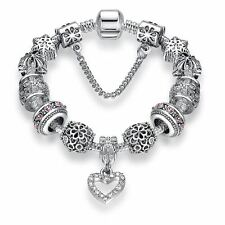 Women Silver Plated Crystal Heart Charm Beads Fit Bracelet
