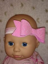 HANDMADE GLITTER BOW HEADBAND HAIR BAND  BABY/GIRL/TODDLER 5 SIZES AVAILABLE