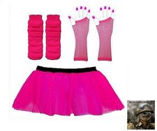 RACE FOR LIFE NEON PINK MULTI LAYER TUTU SKIRT NEON LEG WARMERS GLOVES TUTU
