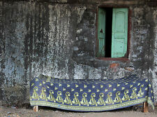Indian Ethnic Kantha Bed Sheet Cotton Rali Quilt Twin Throw Floral Blanket Gudri