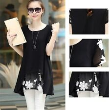 Fashion Tunic Summer Pullovers Short Printed Blouse Chiffon Floral Sleeve Loose
