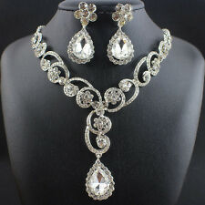 Simulated Pearl Jewelry Sets White Plated Flower Necklace Earrings