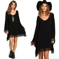 Fashion Women Girl Soft Solid Chiffon Casual Loose Dress Top Clothes Flapper
