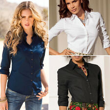 2017 OL Women's Lady Girls Casual Loose Long Sleeve Work Shirt Blouse Tops Dress