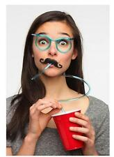 8 packs Novelty Flexible Glasses Silly Drinking Straw Glasses For Kids Party