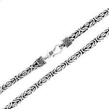 6mm Mens Heavy Byzantine Bali Handmade Solid 925 Sterling Silver Chain Necklace