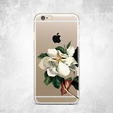 White Floral Flower Art Silicone TPU Gel Rubber Case iPhone 5 S 6 S 7 Plus