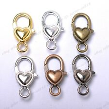 Gold Silver Plated Bronze Copper & Shiny & Charms Heart Lobster Clasps