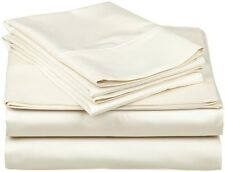 Luxurious 4-Piece Bed Sheet Set 1200 TC Egyptian Cotton Ivory Solid