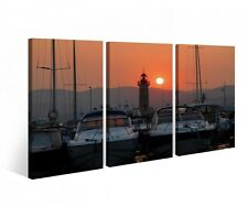 Canvas 3 pc Lighthouse Yacht Harbor Water Boat Print Pictures Wall Picture 9B412