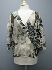 DRIES VAN NOTEN Taupe Black Wool 3 / 4 Sleeves Lined V Neck Blouse Sz 40 CC491
