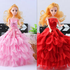 Handmade Dolls Clothes Wedding Dress Party Gown With Veil For Barbie Dolls New
