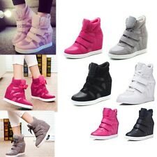 Fashion Womens Lace Up High Top Wedge Hidden Heels Sport Sneakers Athletic Shoes