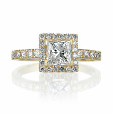 Halo Engagement Ring Size 6.25 Certified Diamond 1.23CT 14K Yellow Gold Enhanced