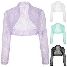 Elegant Women Cropped Lace Long Sleeve Shrug Ladies Bolero Lace Jacket Top New