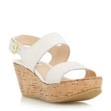 Dune Ladies KENDELL Cork Flatform Wedge Leather Sandal in Off White