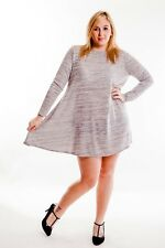 Womens Ladies Plus Size Swing Dress in Grey Marl with Bow