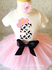 Cowgirl Cow Print Light pink Girl 5th Birthday Tutu Outfit Shirt Set Party Dress