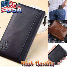 Fashion Men's Vintage Leather Wallet Bifold Coin Zipper Pocket Purse Key Chain