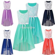 Girls Lace Tulle Dress Princess Wedding Bridesmaid Chiffon Pageant Formal Gown