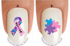"""WaterSlide Decal Set#6510 """"Autism Puzzle Color Ribbon Pink"""" Nail Art Transfers"""