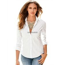 Fashion Office Lady Womens Slim Fit Long Sleeve Cotton Shirt Top Blouse ED02